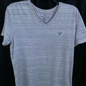 White, Short Sleeve, Striped,  V-Neck Tee
